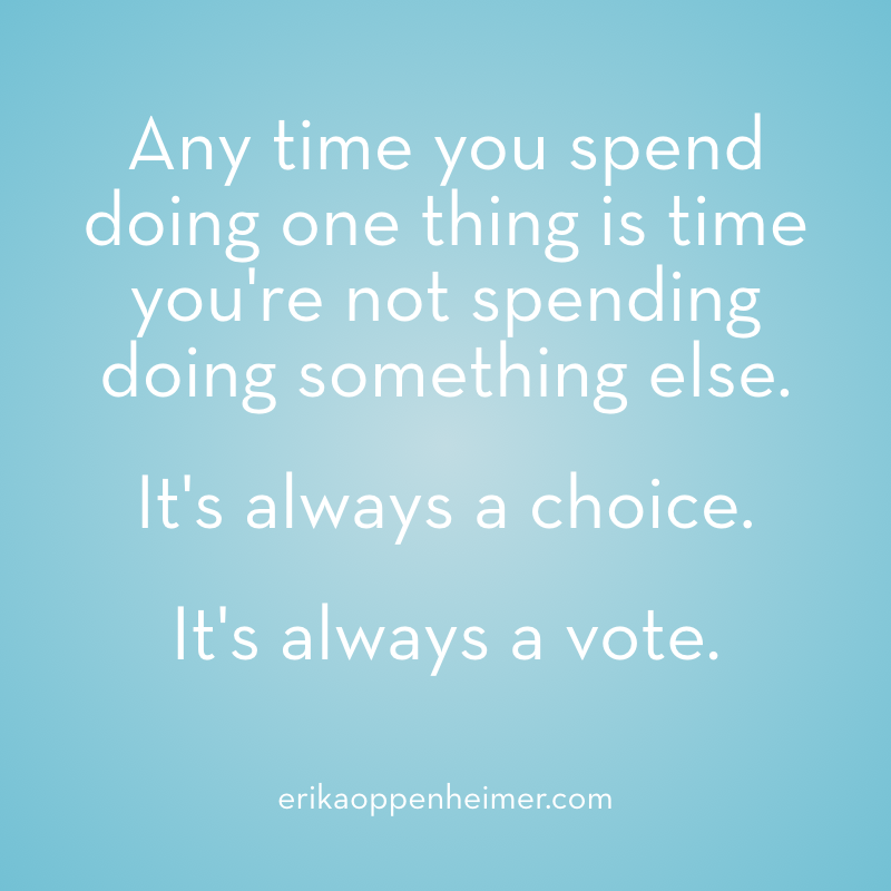 Any time you spend doing one thing is time you're not spending doing something else. It's always a choice. It's always a vote. // erikaoppenheimer.com // #priorities #choices #mindfulness #testprep #acingit
