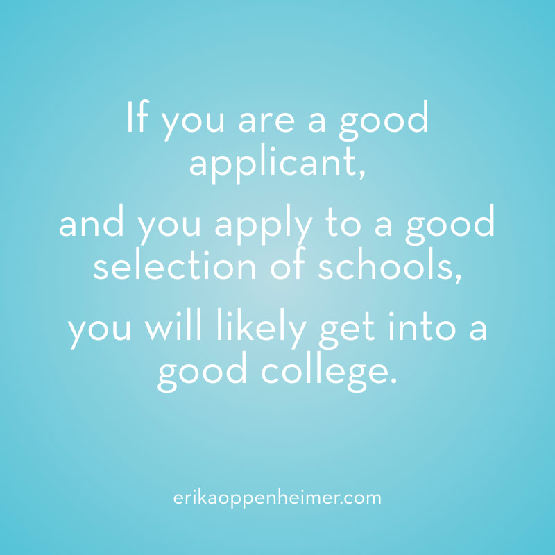 If you are a good applicant, and you apply to a good selection of schools, you will likely get into a good college. --erikaoppenheimer.com